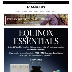 [Mankind] Equinox Essentials | Save 20% inside PLUS Free Gift