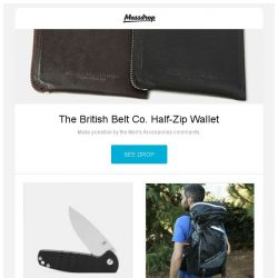 [Massdrop] The British Belt Co. Half-Zip Wallet, Kizer Vanguard G-10 Gemini Knife, Klymit Motion 60L Backpack – New Edition and more...