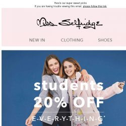 [Miss Selfridge] Oh hey 20% off for students 🙋‍