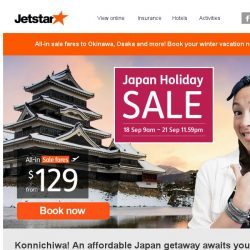 [Jetstar] Japan Holiday Sale starts now! Okinawa, Osaka, Tokyo and more from $129 all-in.