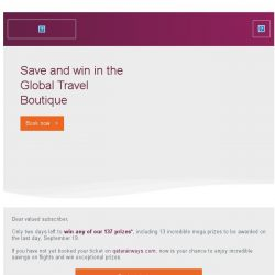 [Qatar] Fly free for a year* and 137 more prizes await.