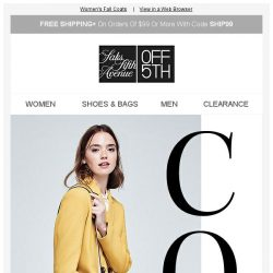 [Saks OFF 5th] Up to 70% OFF Coats from Kate Spade New York, T Tahari & More