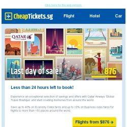 [cheaptickets.sg] Less than 24 hours left to grab Qatar Airways offers | Fares from SGD 876