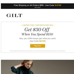 [Gilt] Get $30 off when you spend $150. Plus, BCBGMAXAZRIA, Fendi Accessories and More Start Now