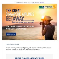[Singapore Airlines] Only 4 days left to book your trip with The Great Singapore Airlines Getaway