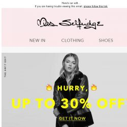 [Miss Selfridge] 🔥 Hurry! Up to 30% off 🔥
