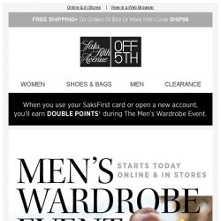 [Saks OFF 5th] Your Calvin Klein item is waiting + Men's Wardrobe Event starts NOW with AMAZING DEALS!