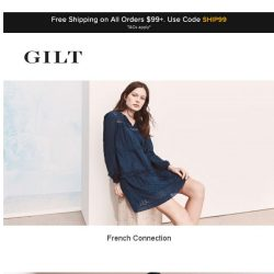 [Gilt] French Connection, Sea Bleu Cashmere and More Start Now