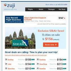 [Zuji] Exclusive fares on SilkAir from just $156 (return).