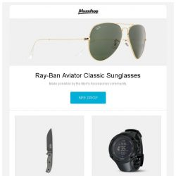 [Massdrop] Ray-Ban Aviator Classic Sunglasses, ESEE 6 Series Fixed Blade Knife w/ Sheath, Suunto Ambit3 Peak Watches and more...