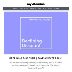 [MyVitamins] Declining Discount | Save an extra 20% off