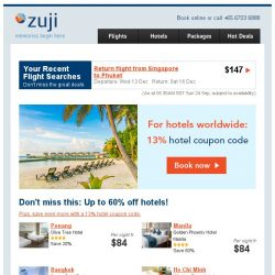 [Zuji] Worldwide hotel deals + 13% coupon code!