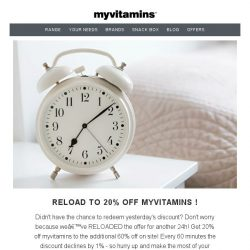 [MyVitamins] Save up to 60% + an extra 20%