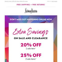 [Neiman Marcus] EXTRA 30% off sale items! 1 day left to save more
