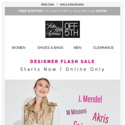 [Saks OFF 5th] DESIGNER FLASH SALE: up to 80% OFF w/ code!