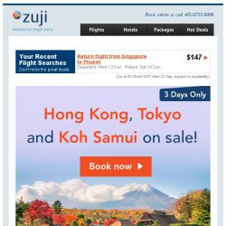 [Zuji] Triple Sale: 3 Cities on sale + 3D2N packages!