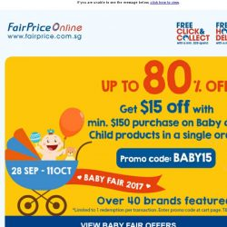 [Fairprice] Enjoy $15 off and save up to 80% this Baby Fair!