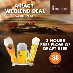 [Brotzeit German Bier Bar and Restaurant] Soak up the Formula 1 atmosphere at Brotzeit Raffles City in the comfort of good food and beer with free