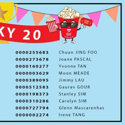 [Golden Village] Put your hands together for our 20 lucky winners from our Members' Monthly Draw!