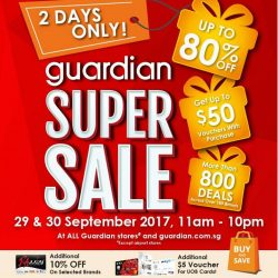 [Causeway Point] Guardian Super Sale is here again – now 2 Days on 29 & 30 September from 11am to 10pm!