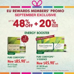 [Eu Yan Sang] In our September exclusive, enjoy big savings on Pure Cordyceps and Pure Cordyceps V-essence.