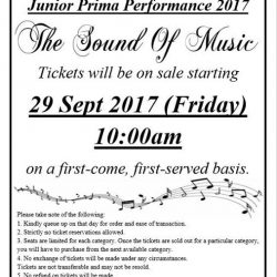 [The Ballet & Music Company] Tickets for Junior Prima Performance 2017 will be on sale tomorrow 29 September 2017 (Friday) at 10:00am.