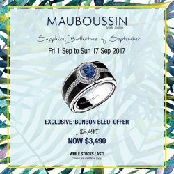 "[Mauboussin] Sapphire, birthstone of SeptemberEnjoy an exceptional offer on Mauboussin ring ""Bonbon Bleu"" from 1st to 17th September 2017."