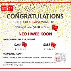 [Miniso] Congratulations to Neo Hwee Koon for being the winner of our rewards card lucky draw for August!
