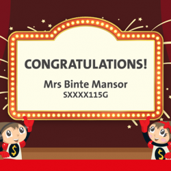 [OCBC ATM] Congratulations to Mrs Binte Mansor, the winner of a birthday planning package!