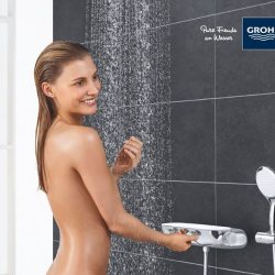 [GROHE SPA] SAVE SPACE WITH SMARTCONTROL CONCEALED Trendy bathrooms adopt smart space-saving methods to make it look spacious.