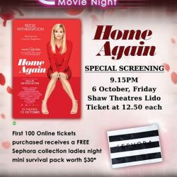 """[Shaw Theatres] Watch Reese Witherspoon in a """"role she was born to play"""" at a special preview of HOME AGAIN [D] (PG)"""