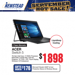 [Newstead Technologies] The new detachable Acer Switch 5 2-in-1 laptop features liquidloop cooling for silent operation, sleek design and comes