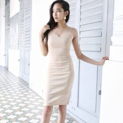 [MDSCollections] Elisa Dress In Beige | One of our online best sellers, on sale item