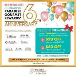 [Paradise Group] In conjunction with the 6th anniversary of our membership programme and to thank you for your support, we are giving