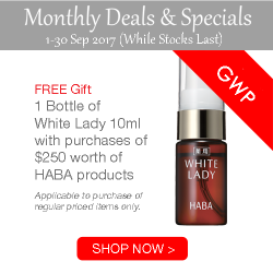 [Shop HABA] Sep 2017 Promo - Get 1 Bottle of White Lady 10ml with purchase of $250 worth of products.