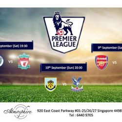 [Atmosphere Bistro & Bar] EPL screening at AtmosphereBistroSG for this weekend.