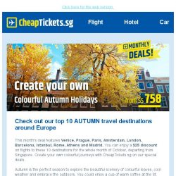 [cheaptickets.sg] 🍂 Enjoy the Autumn Holidays with our monthly deal - $25 off flights to Venice & more!