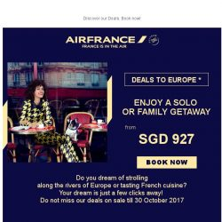 [AIRFRANCE] Flying fares to Europe from SGD 927!