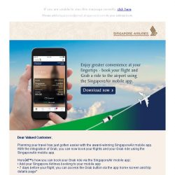 [Singapore Airlines] The SingaporeAir mobile app brings you greater convenience with the integration of Grab