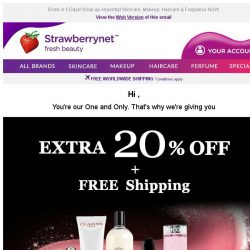 [StrawberryNet] , you're our One and Only. Get Extra 20% Off + Free Int'l Shipping!