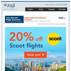 [Zuji] 20% OFF Scoot flights + Exclusive Packages Coupon Code!