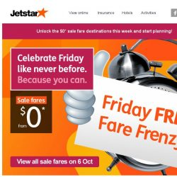 [Jetstar] 🕗 Get ready for $0 Friday FREE Fare Frenzy this October!