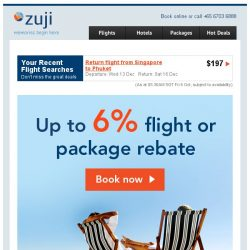 [Zuji] Make every day a TGIF: Up to 6% rebate + free luggage!