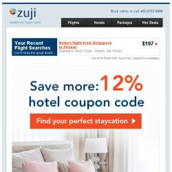 [Zuji] Top staycation deals + 12% hotel coupon code.