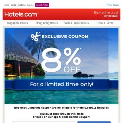 [Hotels.com] You've been selected for an 8% coupon!