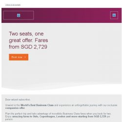 [Qatar] Business Class fares from SGD 2,729. Two seats, one great offer.