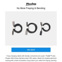 [Massdrop] Plugies Stainless-Steel USB Cable Bundle: Durable Stylish Cables