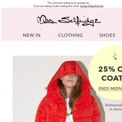 [Miss Selfridge] 25% off ALL coats - TODAY ONLY 👏