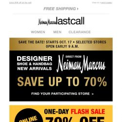 [Last Call] Just for you >> 1-day Flash Sale >> up to 70% off! + Designer Shoe & Handbag New Arrivals in selected stores