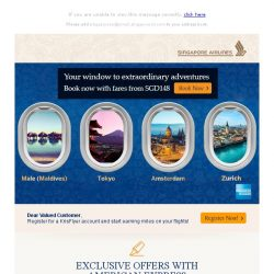 [Singapore Airlines] Book your holiday ahead with exciting fares from SGD148